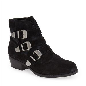 TOPSHOP BILLY Black Buckle Suede Ankle Boots